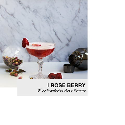cocktail rose berry au sirop lissip framboise rose pomme