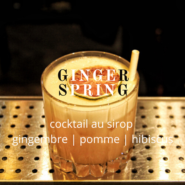 Cocktail Lissip Ginger Spring au sirop Gingembre Pomme Hibiscus