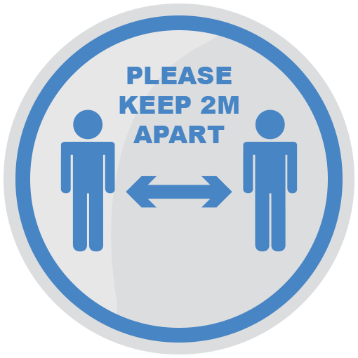 Please Keep 2m Apart 200mm Social Distancing Floor Sticker Light Blue pack of 5