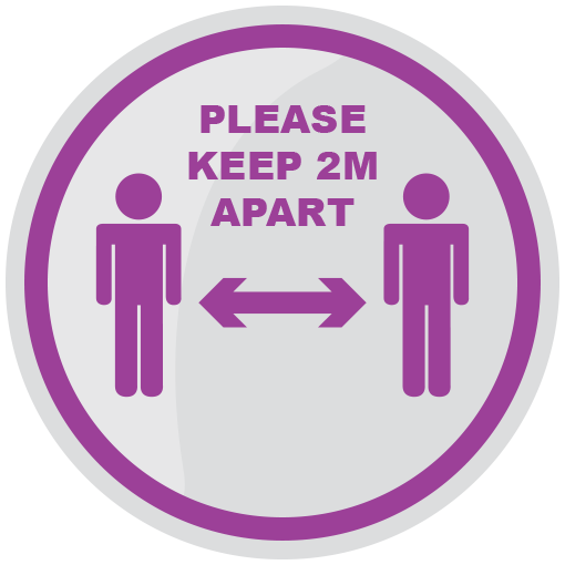 Please Keep 2m Apart 200mm Social Distancing Floor Sticker Purple pack of 5