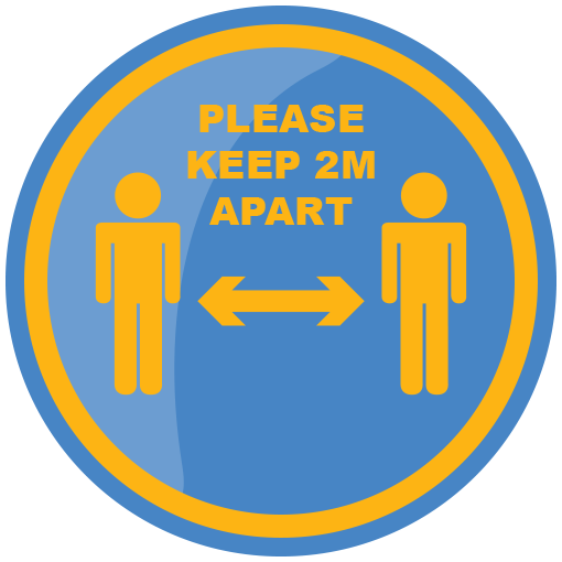 Please Keep 2m Apart 425mm Social Distancing Floor Sticker Blue & Yellow