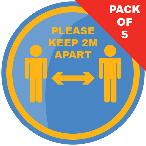 Please Keep 2m Apart 200mm Social Distancing Floor Sticker Blue and Yellow pack of 5