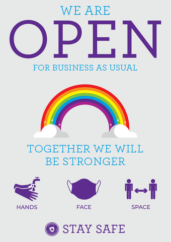 Social Distancing 'We Are Open' Rainbow Posters - Social distancing kits