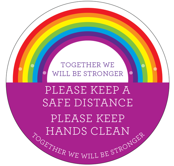 Safe Distance Rainbow Window Stickers