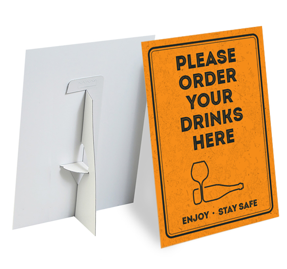 Please Order Your Drinks Strut Card - Social distancing kits