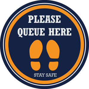 Please Queue Here Floor Sticker (pack of 5) 250mm - Social distancing kits