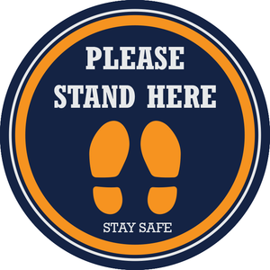 Please Stand Here Floor Sticker (pack of 5) 250mm - Social distancing kits