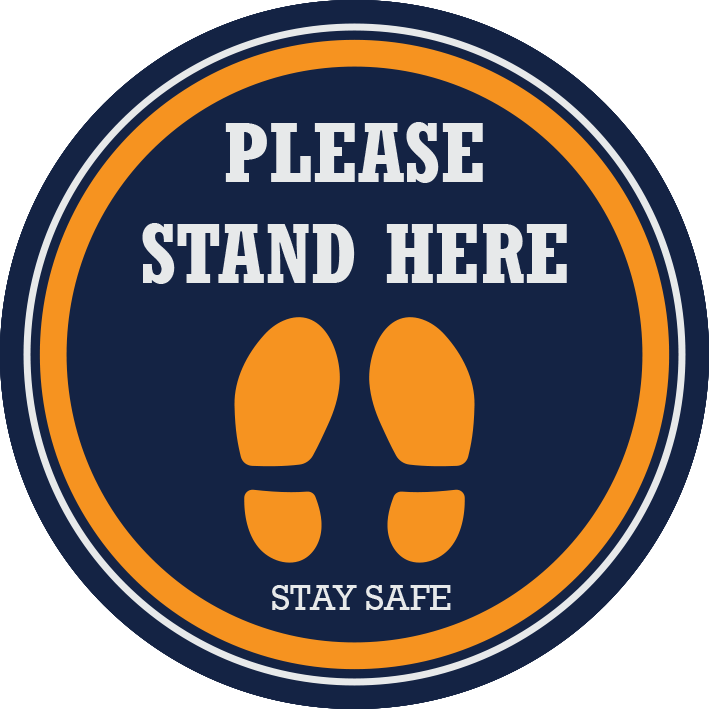 Please Stand Here Floor Sticker 420mm