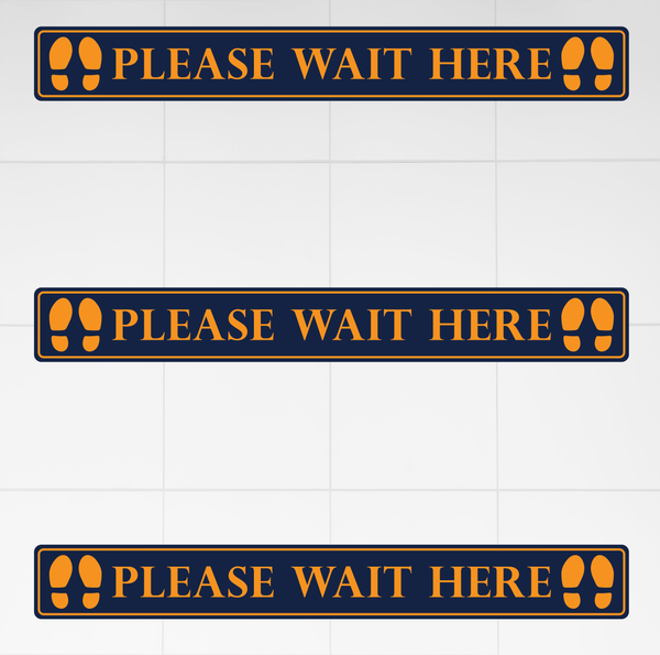 Please Wait Here Floor Strip (Pack of 3)