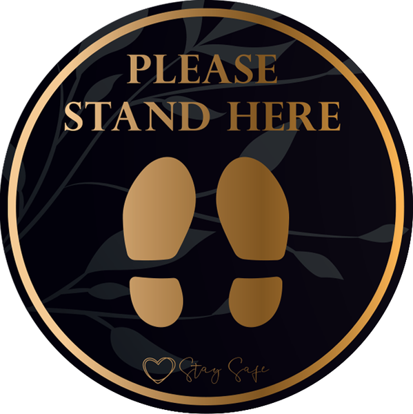 Please Stand Here Floor Sticker (pack of 5) 250mm