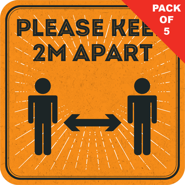 2m Apart Floor Sticker (pack of 5) 250mm
