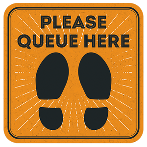 Please Queue Here Floor Sticker 420mm
