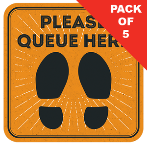 Please Queue Here Floor Sticker (pack of 5) 250mm