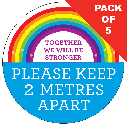 2m Apart Rainbow Floor Sticker (pack of 5) 200mm - Social distancing kits