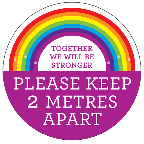 2m Apart Rainbow Floor Sticker (pack of 5) 200mm