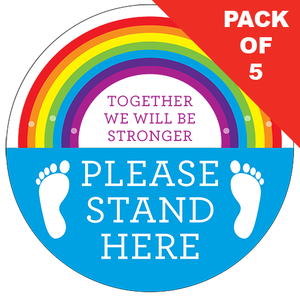 Please Stand Here Rainbow Floor Sticker (pack of 5) 200mm - Social distancing kits