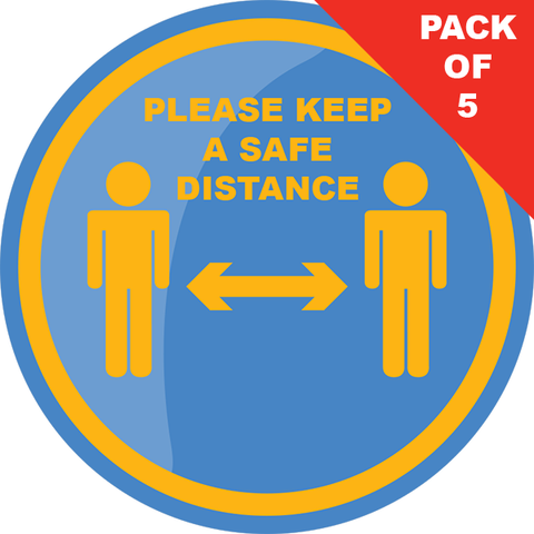 Safe Distance Floor Sticker (Pack of 5) 200mm - Social distancing kits