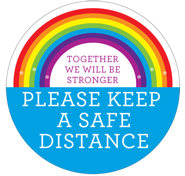 Safe Distance Rainbow Floor Stickers