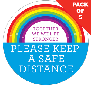 Safe Distance Rainbow (pack of 5) Floor Stickers 200mm