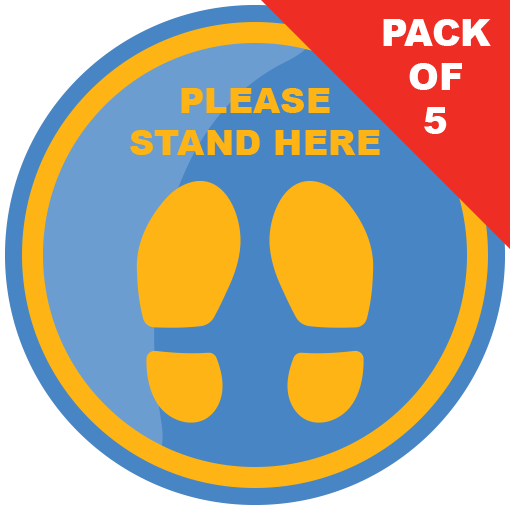 Please Stand Here Floor Sticker (pack of 5) 200mm - Social distancing kits