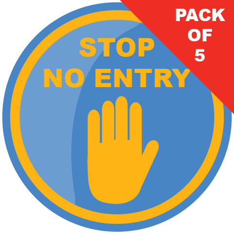No Entry Floor Sticker (pack of 5) 200mm - Social distancing kits