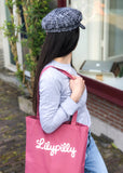 Katoenen cassis shopper met geprint Lilypilly artwork
