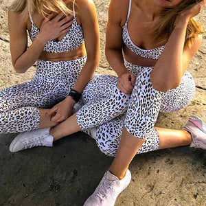 Light Leopard Vest And Legging Yoga Set - Yoga Suits - MIRACLE&MEMORY