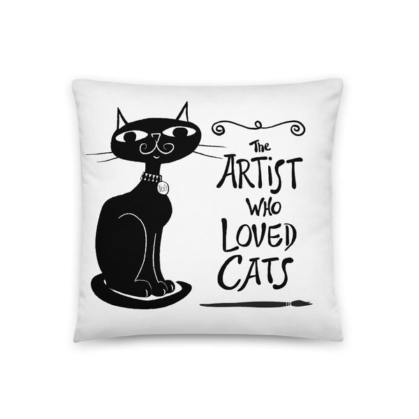 The Artist Who Loved Cats - Decorator Pillow 18x18
