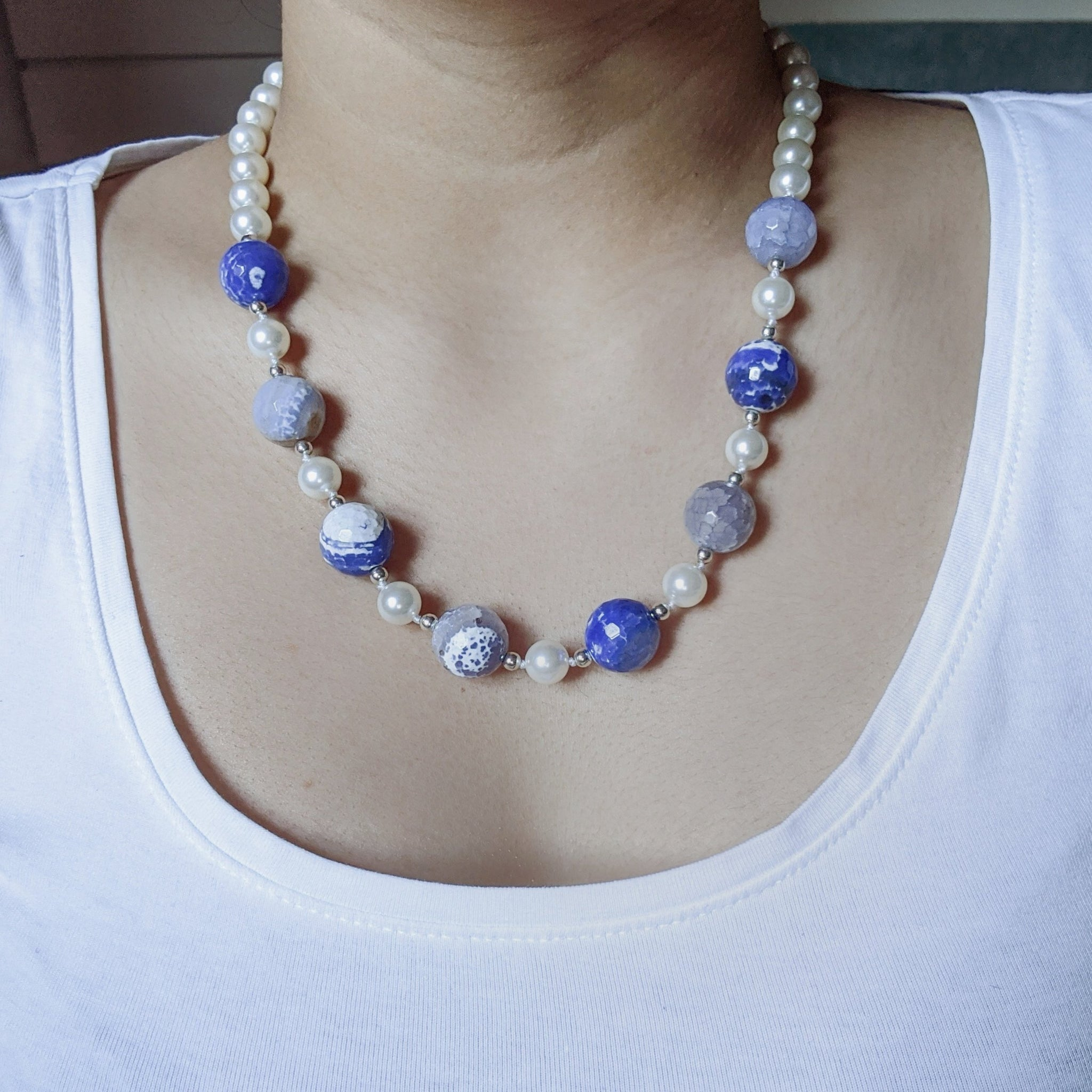 """Barbara"" Fire agate and pearl necklace"