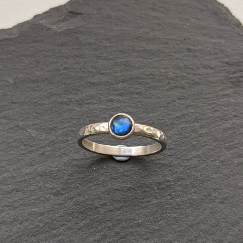 """Isabella"" blue paua shell ring"