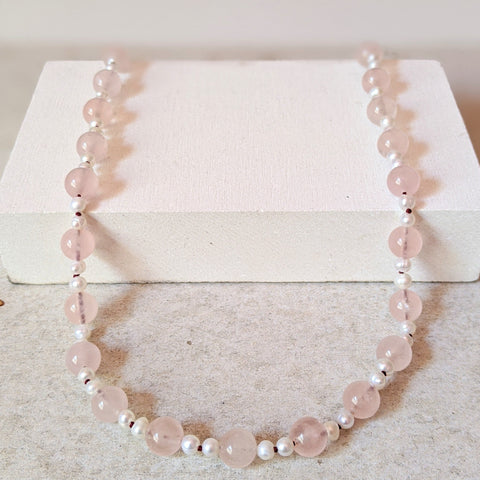 """Diane"" Rose Quartz and Pearl necklace"