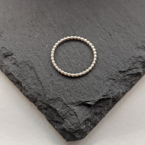 """Kelly"" stacking rings - Skinny, Beaded band"