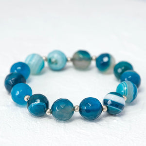 """Gemma"" semi-precious gemstone bracelet in blue agate"