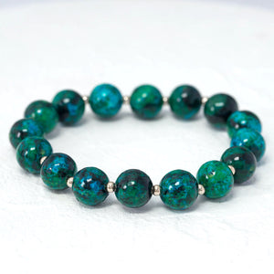 """Gemma"" semi-precious gemstone stretch bracelet in chrysocolla"