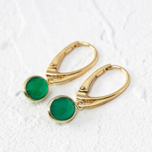 Load image into Gallery viewer, Green onyx earrings with lever back hooks