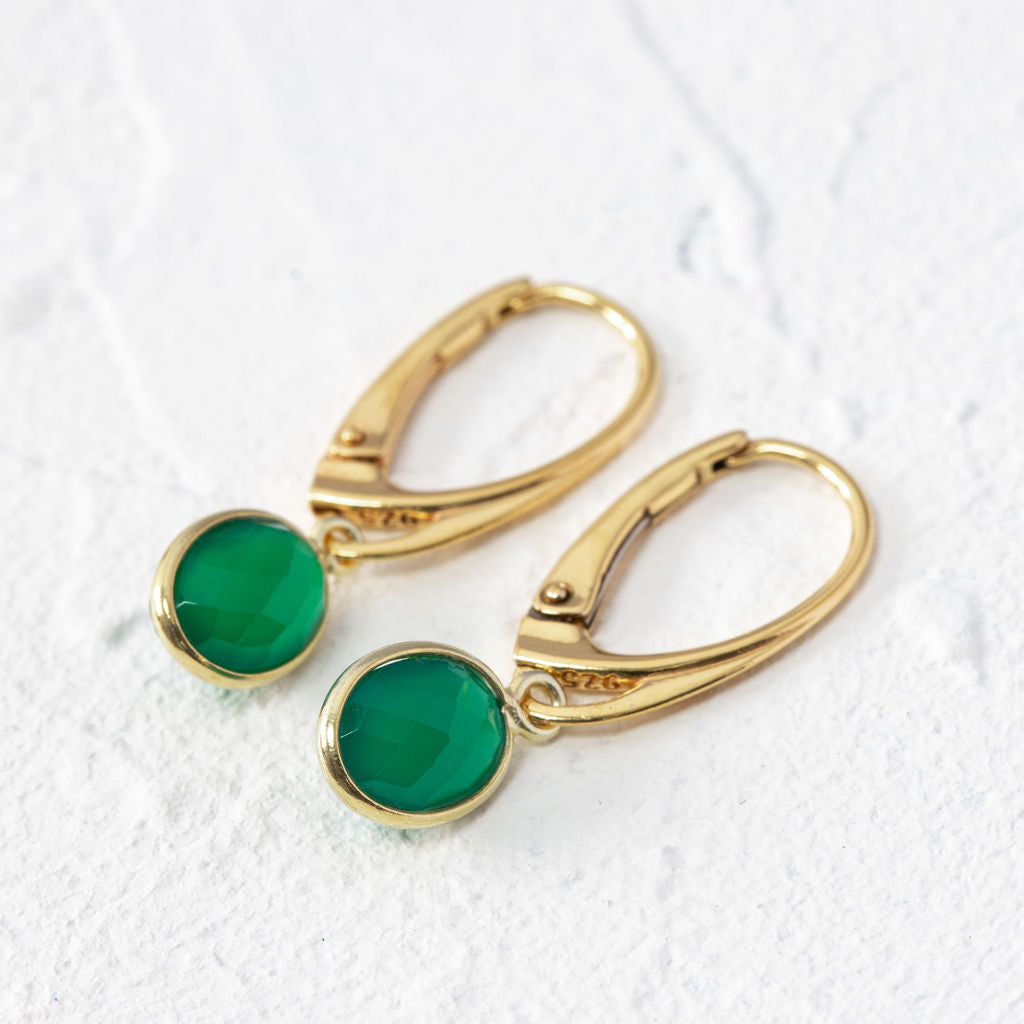 Green onyx earrings with lever back hooks