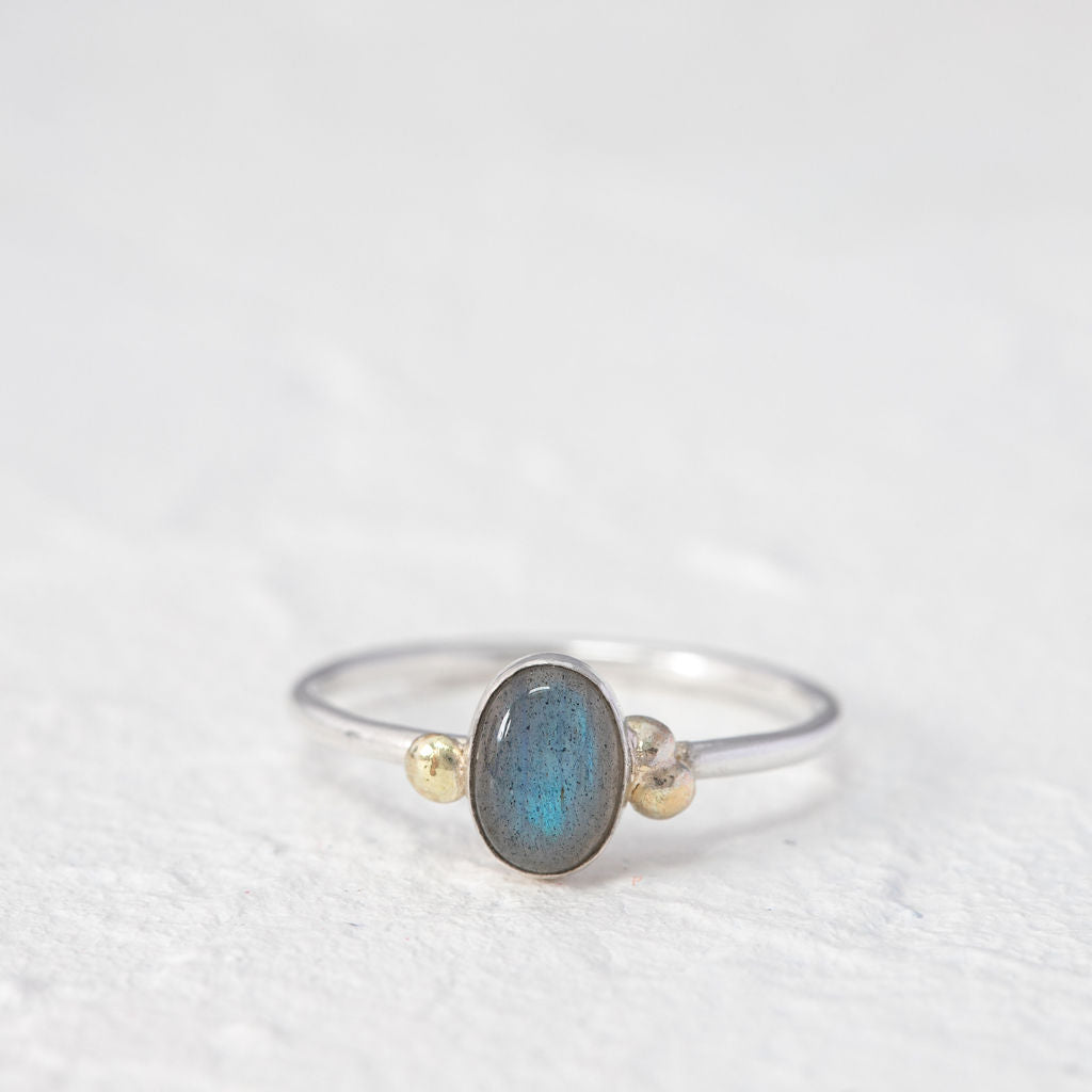 """""""Michelle"""" labradorite ring with 9ct gold- oval stone"""