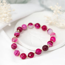 "Load image into Gallery viewer, ""Gemma"" semi-precious gemstone bracelet in pink agate"
