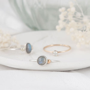 """Michelle"" labradorite ring with 9ct gold- round stone"