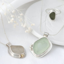 "Load image into Gallery viewer, ""Seychelle"" sea glass pendant with floral cut-out setting"