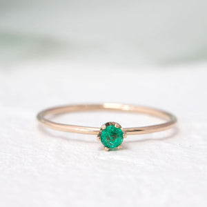 """Aster"" dainty birthstone ring in emerald"