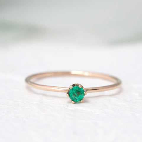 """Aster"" Delicate gold ring in Emerald"