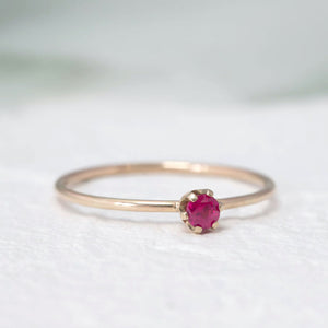 """Aster"" dainty birthstone ring in ruby"