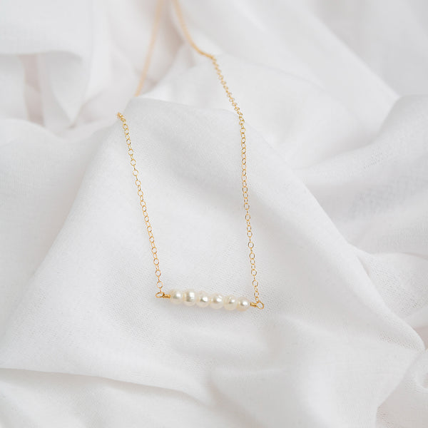 Abigail pearl bar necklace