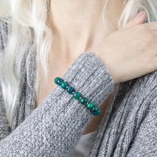 "Load image into Gallery viewer, ""Gemma"" semi-precious gemstone stretch bracelet in chrysocolla"