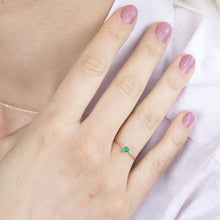 "Load image into Gallery viewer, ""Aster"" dainty birthstone ring in emerald"