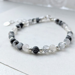 """Alice"" dainty beaded bracelet in tourmalinated quartz"