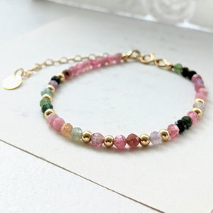 """Alice"" dainty beaded bracelet in tourmaline"