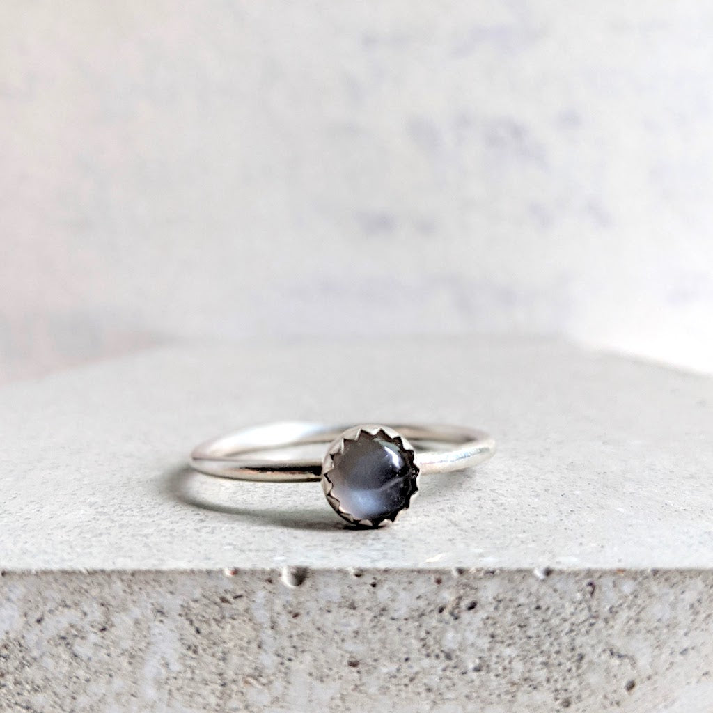 Angharad grey moonstone ring in sterling silver