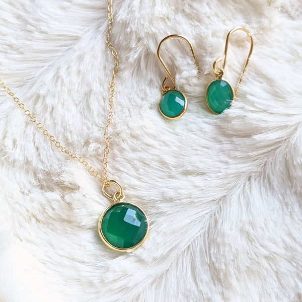 Simple green onyx earrings and necklace set